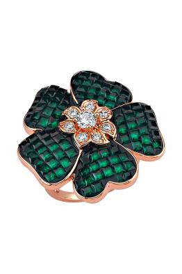 Misadel Bijoux Yeşil Taşlı Çiçek Motifli Rose Yüzük