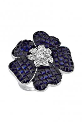 Misadel Bijoux Lacivert Taşlı Çiçek Motifli Beyaz Yüzük