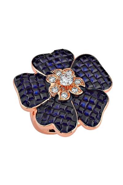 Misadel Bijoux Lacivert Taşlı Çiçek Motifli Rose Yüzük