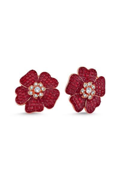 Kırmızı Taşlı Çiçek Motifli Rose Küpe