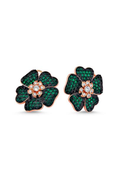 Yeşil Taşlı Çiçek Motifli Rose Küpe