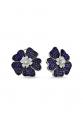 Lacivert Taşlı Çiçek Motifli Beyaz Küpe