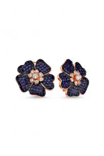 Lacivert Taşlı Çiçek Motifli Rose Küpe
