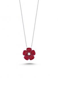 Kırmızı Taşlı Beyaz Mini Çiçek Kolye