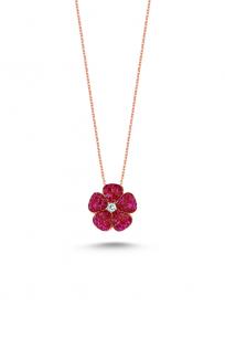 Kırmızı Taşlı Rose Mini Çiçek Kolye