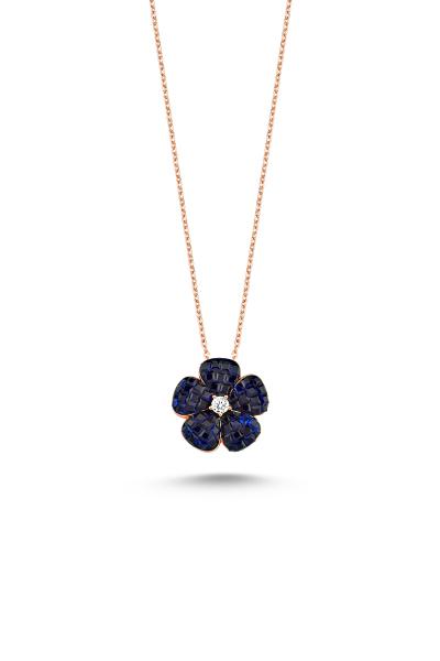 Misadel Bijoux Lacivert Taşlı Rose Mini Çiçek Kolye