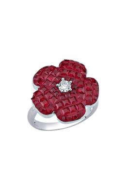 Misadel Bijoux Kırmızı Taşlı Beyaz Mini Çiçek Yüzük