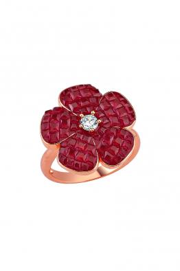 Misadel Bijoux Kırmızı Taşlı Rose Mini Çiçek Yüzük