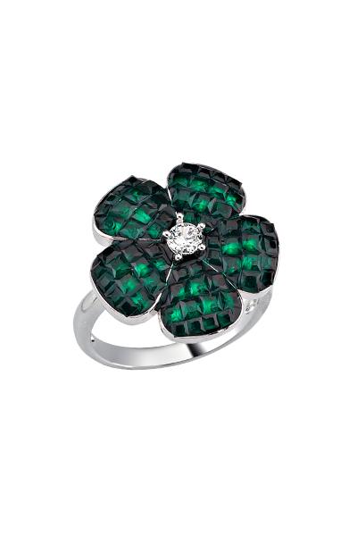 Misadel Bijoux Yeşil Taşlı Beyaz Mini Çiçek Yüzük