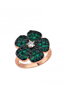 Misadel Bijoux Yeşil Taşlı Rose Mini Çiçek Yüzük