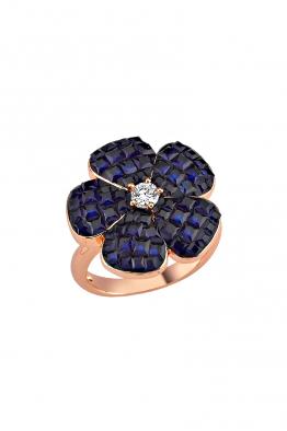 Misadel Bijoux Lacivert Taşlı Rose Mini Çiçek Yüzük