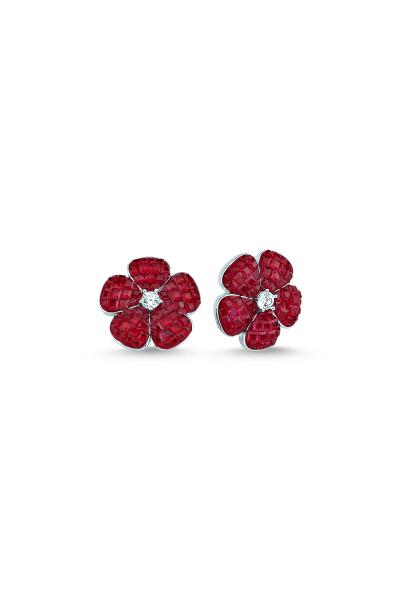 Kırmızı Taşlı Beyaz Mini Çiçek Küpe Kırmızı Taşlı Beyaz Mini Çiçek Küpe