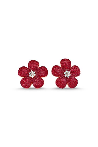 Kırmızı Taşlı Rose Çiçek Küpe Kırmızı Taşlı Rose Çiçek Küpe