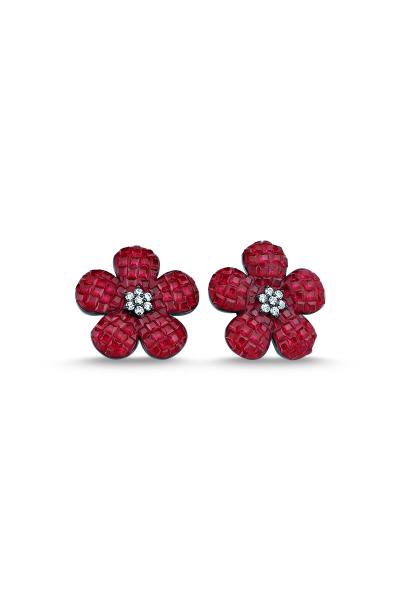 Kırmızı Taşlı Siyah Çiçek Küpe Kırmızı Taşlı Siyah Çiçek Küpe