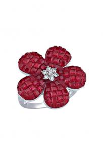Kırmızı Taşlı Beyaz Çiçek Yüzük