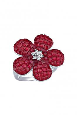 Misadel Bijoux Kırmızı Taşlı Beyaz Çiçek Yüzük