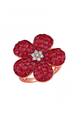 Misadel Bijoux Kırmızı Taşlı Rose Çiçek Yüzük