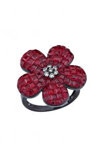 Kırmızı Taşlı Siyah Çiçek Yüzük
