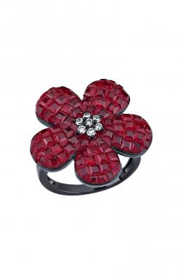 Misadel Bijoux Kırmızı Taşlı Siyah Çiçek Yüzük