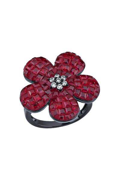 Kırmızı Taşlı Siyah Çiçek Yüzük Kırmızı Taşlı Siyah Çiçek Yüzük