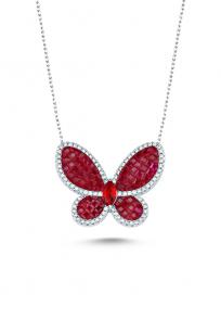 Kırmızı Taşlı Beyaz Kelebek Kolye
