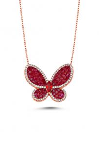 Kırmızı Taşlı Rose Kelebek Kolye