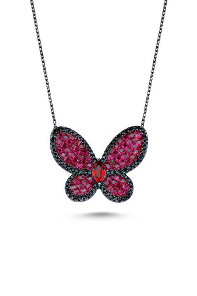 Kırmızı Taşlı Siyah Kelebek Kolye