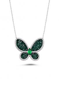 Yeşil Taşlı Beyaz Kelebek Kolye