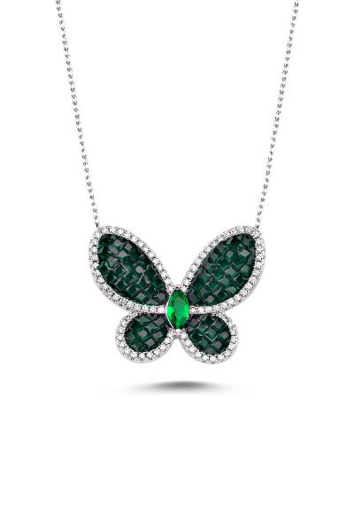 Yeşil Taşlı Beyaz Kelebek Kolye Yeşil Taşlı Beyaz Kelebek Kolye