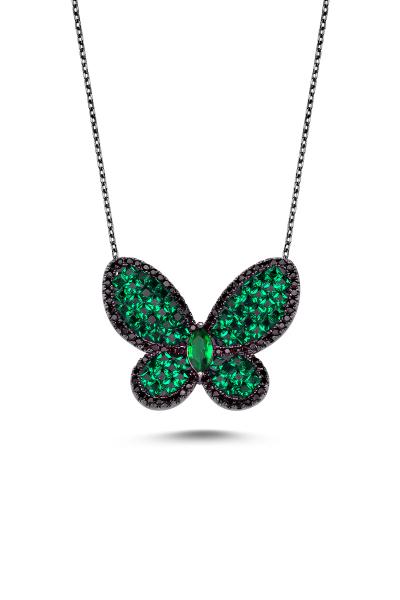 Yeşil Taşlı Siyah Kelebek Kolye Yeşil Taşlı Siyah Kelebek Kolye