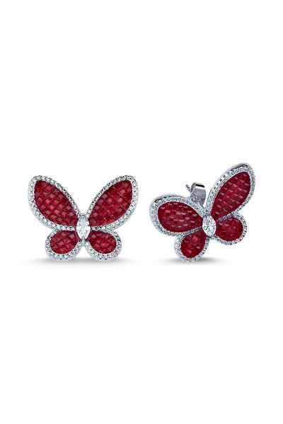 Kırmızı Taşlı Beyaz Kelebek Küpe