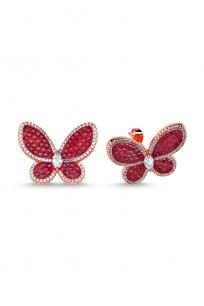 Kırmızı Taşlı Rose Kelebek Küpe