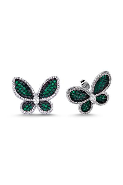 Yeşil Taşlı Beyaz Kelebek Küpe Yeşil Taşlı Beyaz Kelebek Küpe