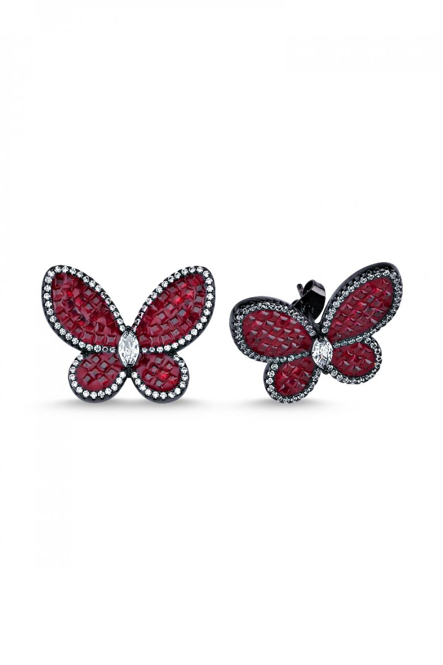 Kırmızı Taşlı Siyah Kelebek Küpe
