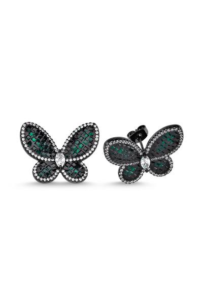 Yeşil Taşlı Siyah Kelebek Küpe