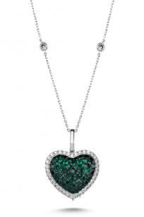 Yeşil Taşlı Beyaz Kalp Kolye
