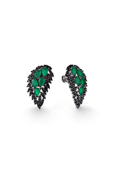 Wings Yeşil Siyah Kanat Küpe  Wings Yeşil Siyah Kanat Küpe