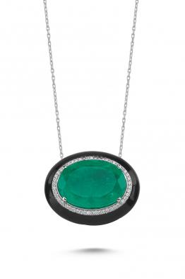 Misadel Bijoux Yeşil Taşlı Siyah Mineli Zirkon Taşlı Beyaz Kolye