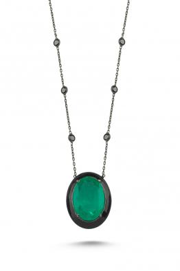 Misadel Bijoux Yeşil Taşlı Siyah Mineli Tiffany Zincirli Siyah Kolye