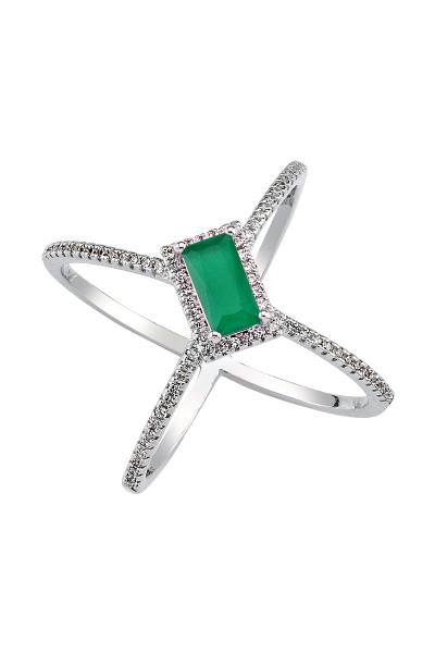 Misadel Bijoux Criss Cross Yeşil Baget Kesim Yüzük