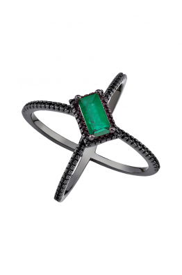Misadel Bijoux Criss Cross Yeşil Baget Kesim Siyah Yüzük