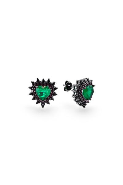 Misadel Bijoux Foxy Coeur Yeşil Kalp Siyah Küpe