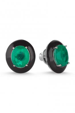 Misadel Bijoux Siyah Mineli Yeşil Taşlı Oval Küpe