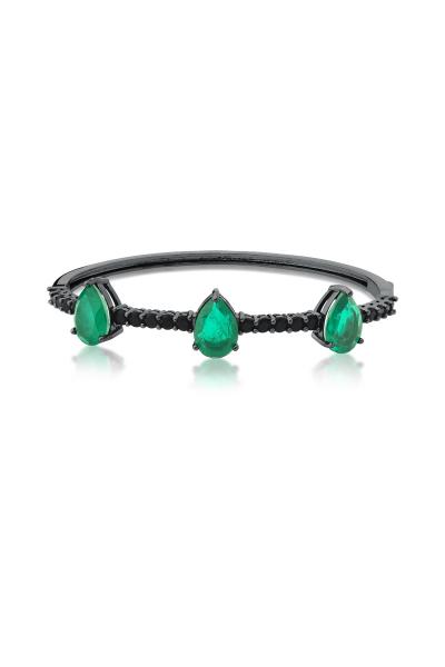Misadel Bijoux Yeşil Damla Taşlı Siyah Kelepçe Bileklik