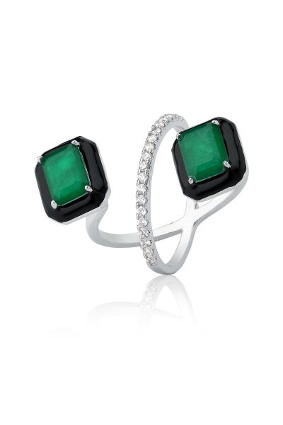 Misadel Bijoux Siyah Mineli Yeşil Taşlı Beyaz Yüzük