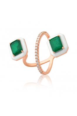 Misadel Bijoux Beyaz Mineli Yeşil Taşlı Rose Yüzük
