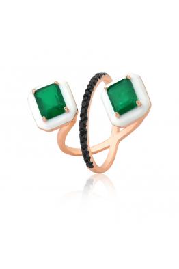 Misadel Bijoux Beyaz Mineli Yeşil Taşlı Siyah Zirkonlu Rose Yüzük