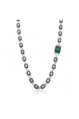 Misadel Bijoux Yeşil Baget Taşlı Siyah Mineli Su Yolu Kolye - 80 CM