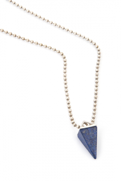 Mavi Üçgen Zincir Kolye