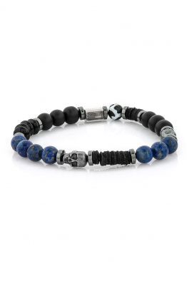 Delfince Original Skull Black and Blue Bileklik
